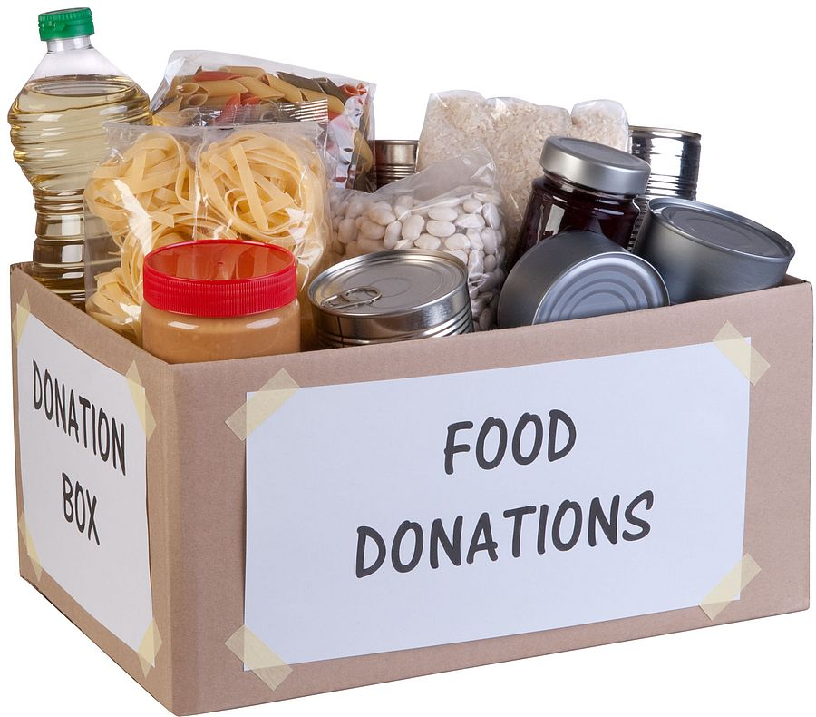 A box of non-perishable food for a food drive.