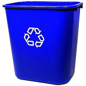 Desk-side blue recycling bin