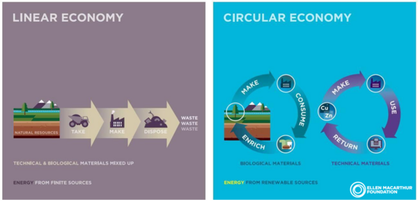 "Diagram illustrating the difference between a linear economy (""take, make, dispose"") and a circular economy (""make, use, return"")"