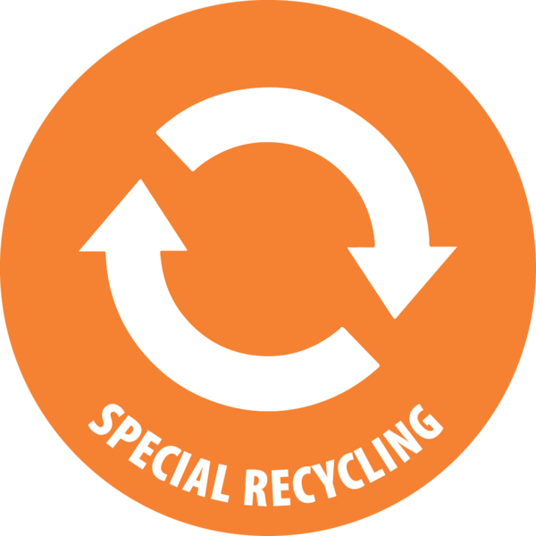 Orange special recycling symbol with two arrows pointing in circle