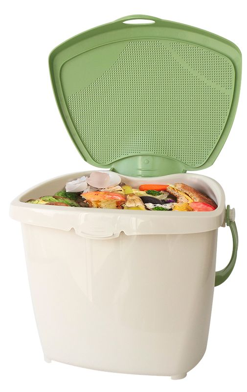 Plastic container with lid open showing food scraps inside