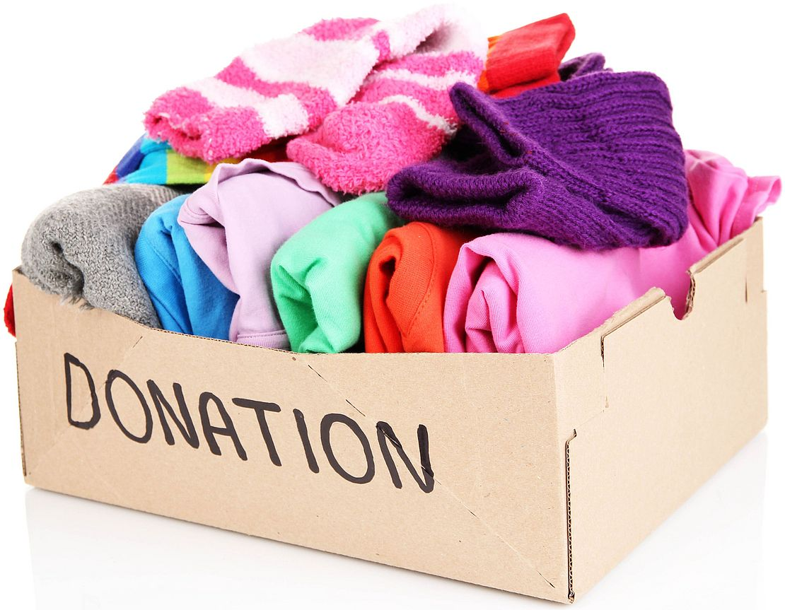Box of clean clothing sorted for donation