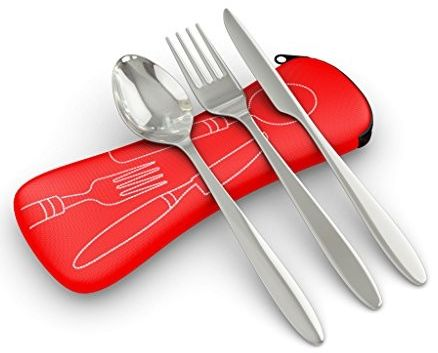 Travel cutlery set including fork, spoon, knife, and travel case