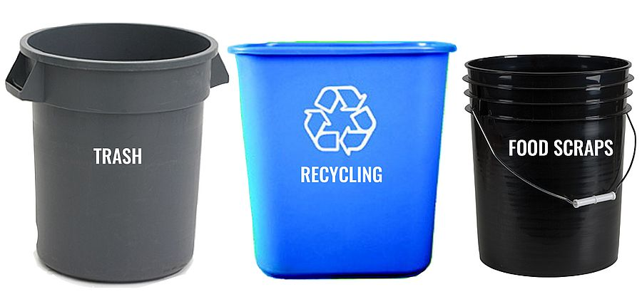 trash, recycling, food scraps