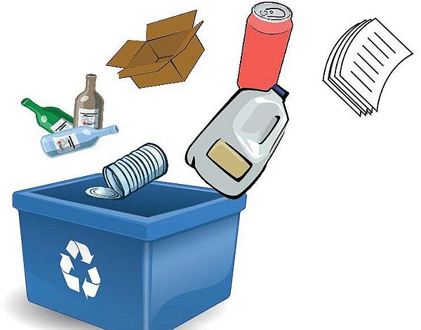 A recycling bin with glass bottles, an aluminum can, newspaper, a cardboard box and an empty milk jug falling into it.
