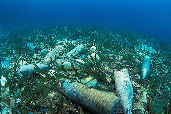 plastic bottles in ocean